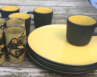 Vintage Mug / Snack Plate SET by Jonas Roberts /Terra Stone and Complimenting Petite Cups / Vases - Retro Ceramic Dining - Housewarming Gift