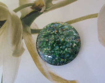 Czech 25mm Green Opal Glass Cab 1Pc. Lampworked Opal Cab