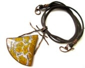 Breaking Parole -primitive tribal golden yellow white Stone Canyon brecciated jasper triangle, twisted copper, faux suede metalwork necklace