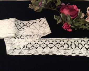 Vintage Wide White Cotton Lace, Vintage Crafting Sewing Supplies