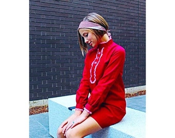 Girls Mini dress // Aline MOD Dress // 60s Mini Skirt // Juniors Red & Pink Teen Girls Size 14 16 0 1