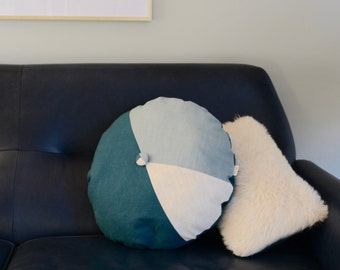 Round Pillow/Tricolor Pillow/Pillow with button/Deep Teal/Ivory/Slate/Handcrafted/Custom Pillow/Handmade/Eclectic/ZigZag Studio Design