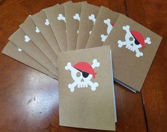 Lot of 10 Skull Pirate Notebook's - Pirate Party Favors