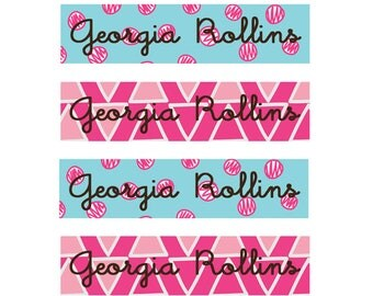 FAST SHIPPING! Fabric Name Labels, Clothing Name Labels, Clothing Name Tags, Iron-On, School Labels, Daycare, Camp, Girl, Pink, Aqua