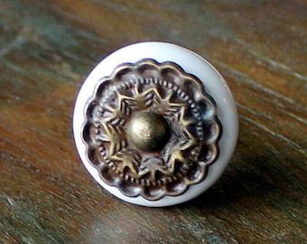 White Ceramic Knob Antique Brass Knob Cabinet Knob Dresser Knob Rustic