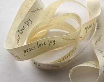 "3/4"" Cotton Ribbon - peace love joy Cotton Canvas Ribbon - 2 yards"