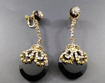 Rare Enormous Black cut glass Miriam Haskell Drop earrings