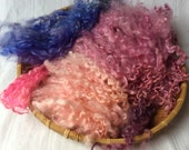 Hand Dyed British Wool locks 3oz/87gms for Waldorf Dolls, Art Dolls, Blythe Dolls, Puppets Hair and Wigs 'Spring Hyacinths' colorway