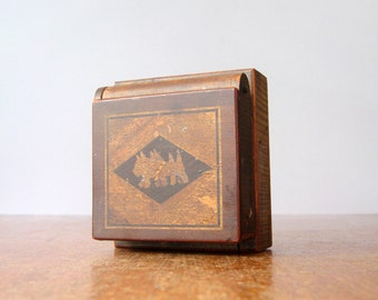 Vintage Japanese Puzzle Box Cigarette Dispenser / Ashtray - Marquetry / Glass Insert
