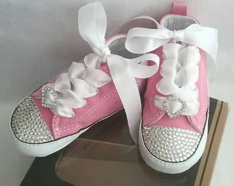 Pink Converse, Baby Girls, Bling Shoes, Rhinestone Hearts, Clear Crystals, Satin Laces, White Ties