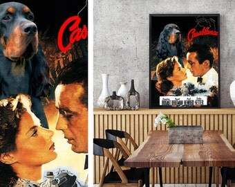 Gordon Setter Art Vintage Movie Style Poster Canvas Print - Casablanca NEW Collection by Nobility Dogs