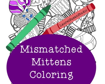 Mittens Coloring Page, Adult Coloring Page, Winter Snow Ice Coloring, Mismatched Mittens