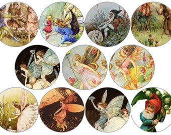 "Vintage Fairies and Gnomes Circle Digital Download Cabochon, Pendant, 2"", 50mm, 2 inch, Collage Sheet. Will resize to any size you need."