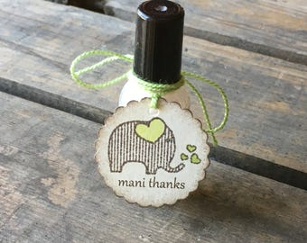Elephant Mani Thanks Tags - Nail Polish Tag - Elephant Baby Shower