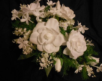 WHITE GARDENIA Cascade Bridal Bouquet. White Stephanotis with Pearls. Lily of the Valley. Teardrop Wedding Flowers.