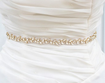 GOLD Wedding Belt, Bridal Belt, Sash Belt, Crystal Rhinestones sash belt, Party Sash,vintage sash belt