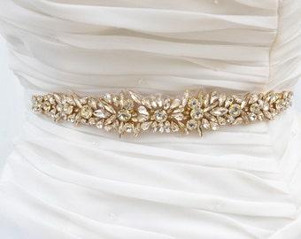 SALE Gold Wedding Belt, Bridal Belt, Sash Belt, Crystal Rhinestones sash belt, Party Sash,vintage