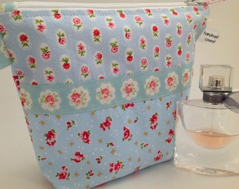 Reduced! Cath Kidston at IKEA Blue Floral Rosali Fabric Cosmetic Bag Handmade in Scotland