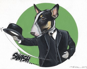 Original Bull Terrier Drawing / A4-sized / framed