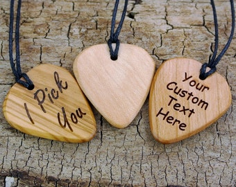 ONE Custom Engraved Wooden Guitar Pick Necklace - (Choose Wood Type, Engraving, and Necklace Length) - Guitar Pick - Custom Guitar Pick