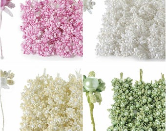 Artificial Flowers Glittered Bouquet with Pearl 60 pcs 4 colors Millinery