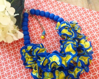 Statement necklace, cobalt blue, yellow, ruffle necklace art jewelry