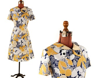 Vintage 1960's Abstract Graphic Print Floral Blue + Tan Mod Shift Scooter Nylon Dress L