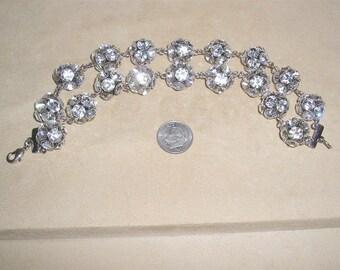 Vintage Crystal Rhinestone Two Strand Ball Bracelet 1970's Jewelry 2293