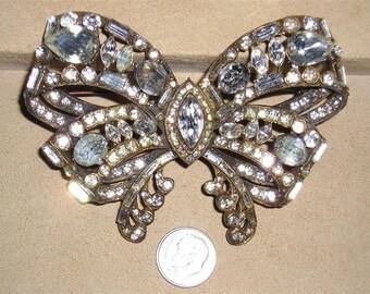 Vintage Signed Staret Large Rhinestone Bow Ribbon Brooch 1940's Jewelry 2192