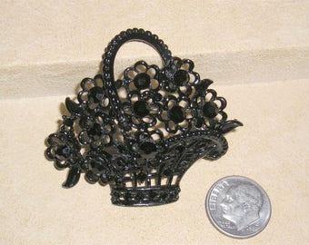Vintage Black Enamel Flower Basket Brooch With Black Rhinestone 1950's Jewelry 3038