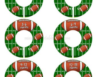 SET OF 6 Football Closet Dividers, Baby Closet Organizers, Football Nursery, Closet Organizers, Closet Rod Dividers, Sports Nursery (650C)
