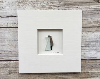 Original Angel Pebble Art  5 by 5 Mini unframed pebble picture by Sharon Nowlan, matted sea glass and pebble art