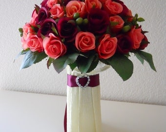 Sangria and Pink Roses proposal/engagement/birthday/Valentine's day flowers arrangement bouquet Valentine's Gift