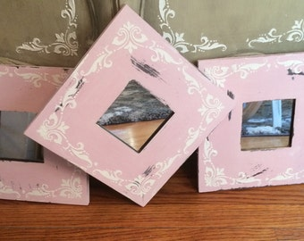 3 Rustic shabby Pink set of wall mirrors, raised stencil in white, Chalk paint pink