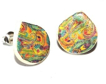 Handmade Ceramic Sterling Silver Stud Earrings Colourful