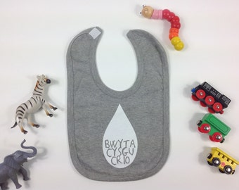 Baby Toddler Light Grey Bib Welsh Text Bwyta, Cysgu, Crio White Unisex