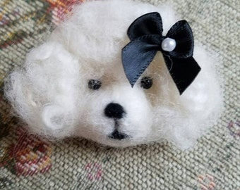 Needle Felted Whimsical Poodle Pin