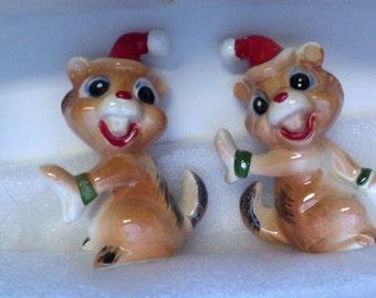 Vintage Christmas Chipmunk Salt & Pepper Shakers