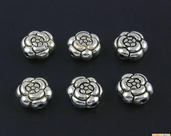30Pcs Antique Silver Rose Flower Bead Rose Charm Rose Bracelet Bead Flower Pendant 11mm (PND1519)