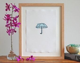 Letterpress Wall Art – Umbrella Art Print