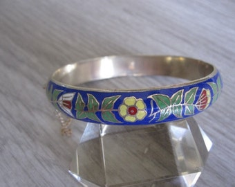 Sterling Silver Blue Enamel and Cloisonné Bangle Bracelet – 1980s