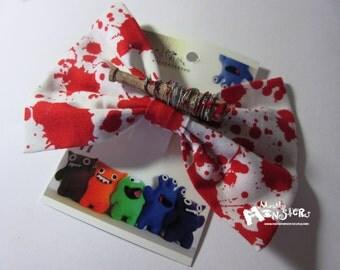 TWD Lucille Hairbow; Blood splatter Lucille; Barbed Wire Bat; Walker Fan Hairbow; Bloody baseball bat; Miniature Zombie Weapon; Handmade Bow