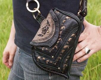 LIMITED ED. | Corvidae Sling Pocket | OSFA | Black & Gold Leather | Burning Man | Festival Wear | Bandalero | Utility Belt | Elven Couture