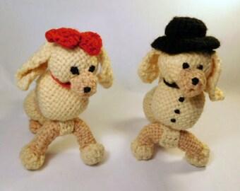 Vintage POODLE Dog Couple / 2 Knit & Woven Figures / Amigurumi Stuffed Plush Yarn Handmade