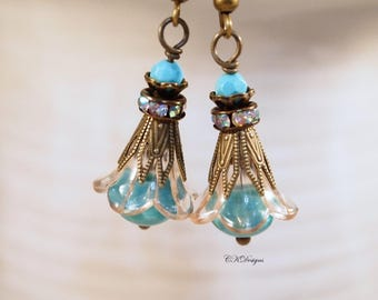 Turquoise  Lucite Flower Earrings  Victorian Style Dangle Earrings  Vintage Style  Pierced or Clip-on Earrings  Flower Dangle Earrings