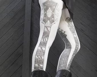 Clearance printed leggings, guitar shirt, music art, nashville, banjo, carousel ink