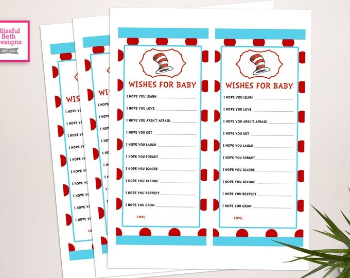 SEUSS WISH LIST Dr. Seuss Printable Wish List, Instant Download, Dr Seuss Inspired Wish List for Baby, Baby Shower Wish List , Seuss Wish
