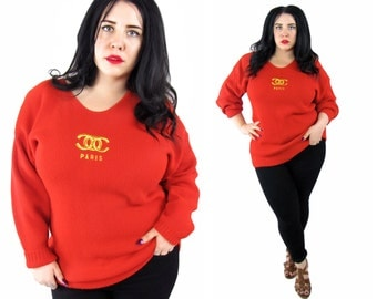Vintage 1990's Red Knit Sweater - Size 1X-2X