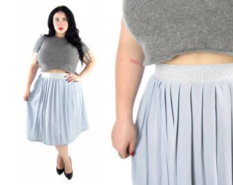 Plus Size 1970's Blue Pleated Skirt - Size XL