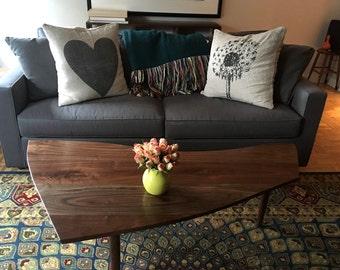 Custom Made George Nakashima Sundra Style Coffee Table in Walnut Mid Century American Studio